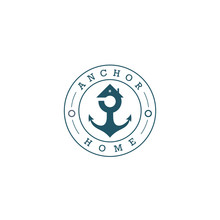 Housing Logo For Sailors, With A Roof That Is Combined With An Anchor.