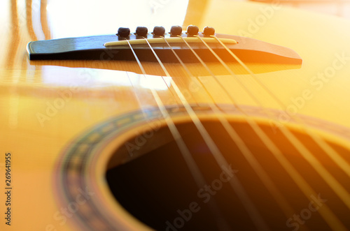 Fotografie, Tablou Acoustic guitar detail