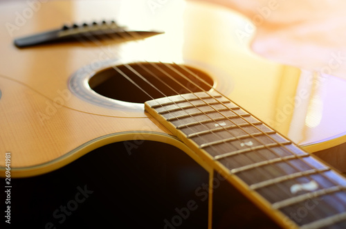 Acoustic guitar detail Tablou Canvas