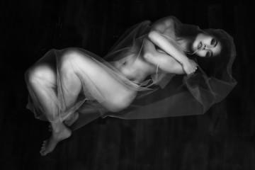 nude portrait of Asian model on wooden floor