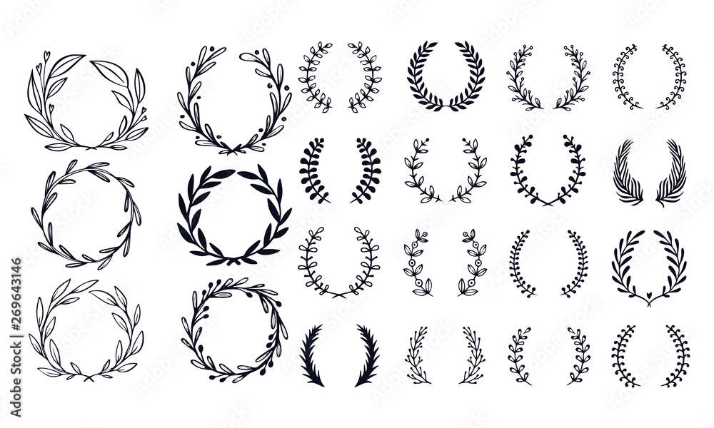 Fototapety, obrazy: Flower ornament wreath olive branch wreaths vector