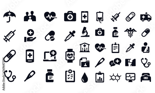 Medical and Healthcare Icons vector design black and white Wallpaper Mural