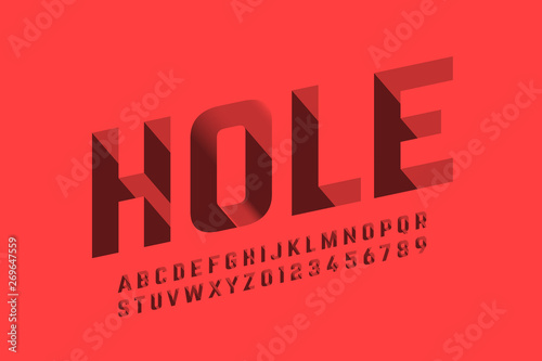 Foto Isometric 3d font design, three-dimensional alphabet letters and numbers