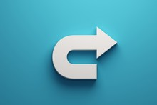 Turning Arrow White Color. 3D Icon Rendering Illustration