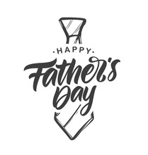 Handwritten Type Lettering Composition Of Happy Father's Day With Hand Drawn Tie On White Background