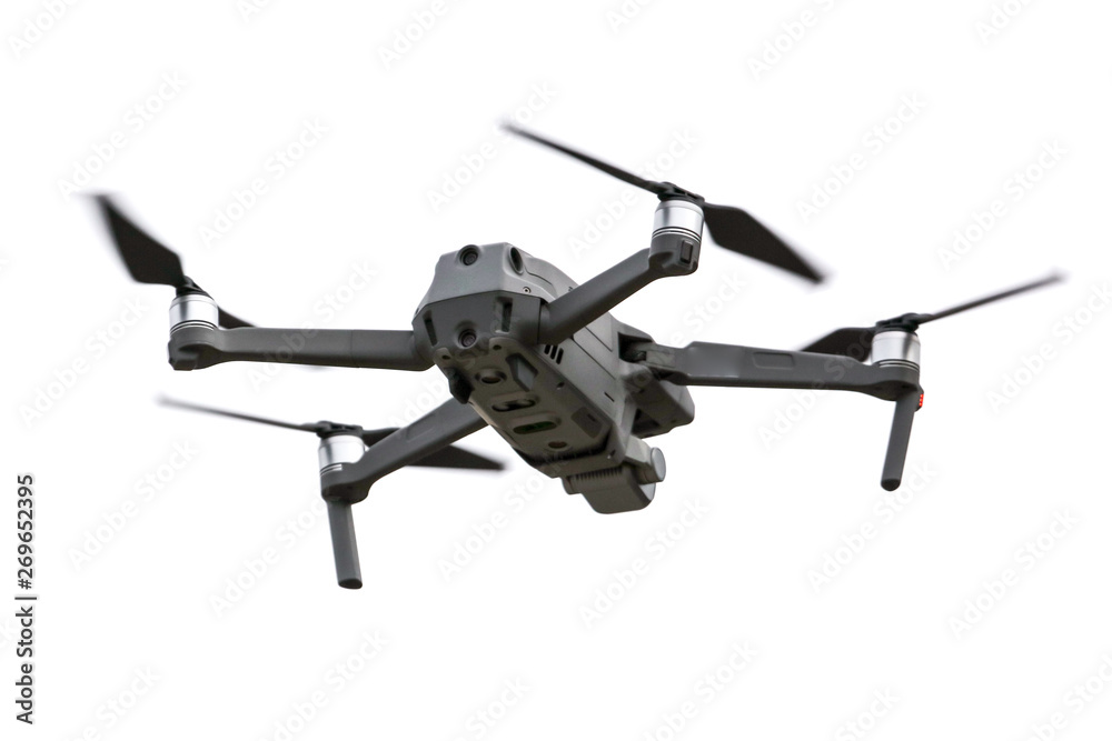 Fototapety, obrazy: Drone in flight on a white background