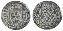 Ancient Spanish Silver Coin Of The King Felipe V. 1707. Coined In Segovia. Real.