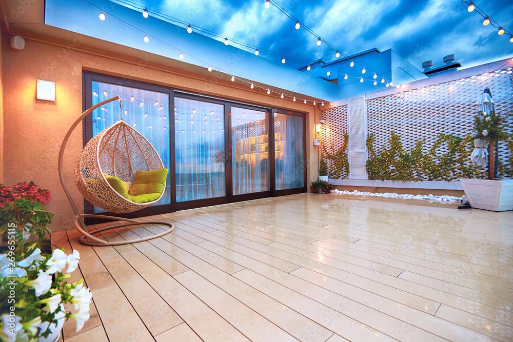 Fototapety, obrazy: evening patio area with sliding doors