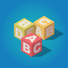 Vector Isometric Alphabet Cubes With Letters A,B,C Icon