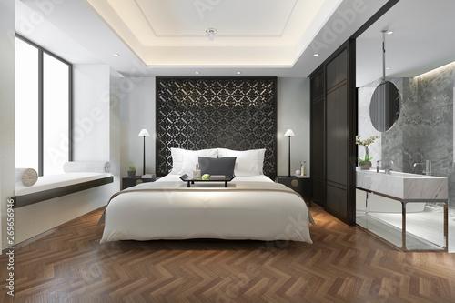 Obraz 3d rendering modern luxury chinese bedroom suite in resort with bathroom - fototapety do salonu