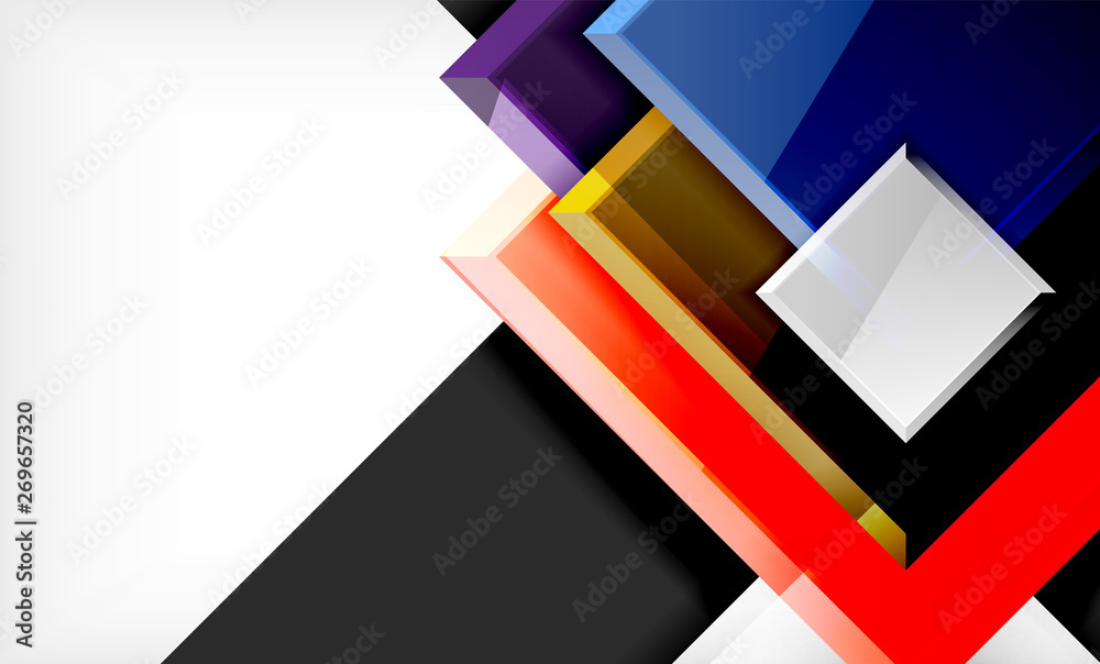 Bright colorful square shape blocks geometrical background
