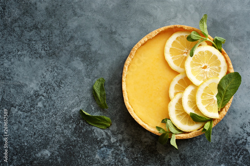 Traditional french lemon tart. View from above Canvas Print