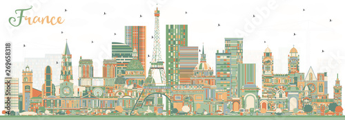 Fotomural France Skyline with Color Buildings.