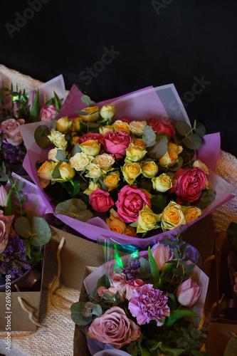Canvas Prints Akt anemone, roses,Ranunculus,mattiola, Tulip,evkalipt,Narcissus, bouquet, wedding, flowers, rose, flower, roses, pink, white, love, bride, floral, bridal, marriage, bunch, celebration, beautiful, romance