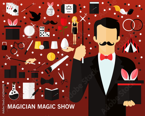 Fotomural Magician magic show consept background. Flat icons.