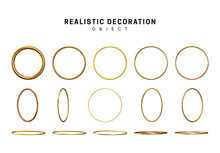 Golden Geometric Objects Rings Circles. Gold Geometric Shapes. Golden Decorative Design Elements Isolated On White Background.