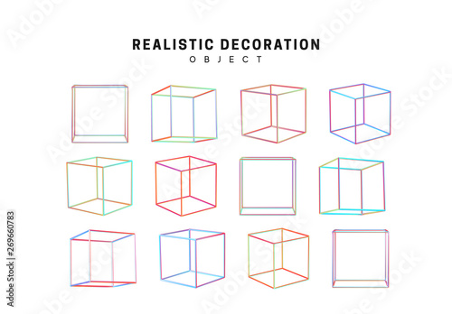 Obraz square and cube geometric objects. Gradient pink and blue geometric shapes. Decorative design elements isolated white background. - fototapety do salonu