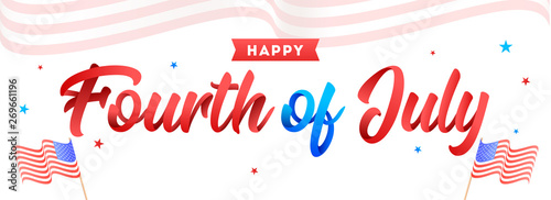 Obraz na plátně Calligraphy of Fourth Of July and wavy American Flags on white background