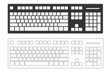 Computer Keyboard Isolated On White Background, Blank Button, Concept Of Technology Design, Top View, Vector Illustration