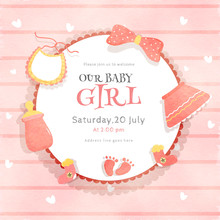 Invitation Card Or Poster Design Decorated With Shower Elements Such As Baby Bottle, Clothes, Footprint And Bow Ribbon For Baby Girl.