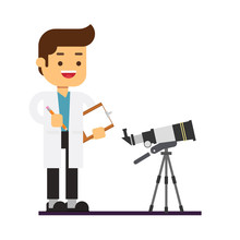 Man Character Avatar Icon.Man Astronomer In White Lab Coat Standing Near Telescope