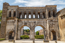 Ancient Roman Ruins (east Gate) In Autun Historic Town, France