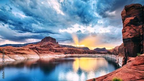 Canvas Prints Cappuccino Sun from skyline (mountain lake)