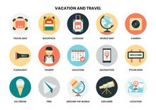 Vacation Icons Set For Business, Marketing, Management