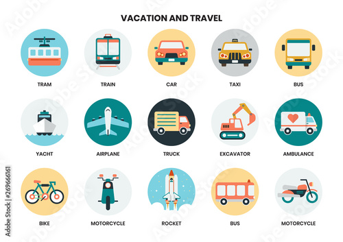 Fotografía Vacation icons set for business, marketing, management