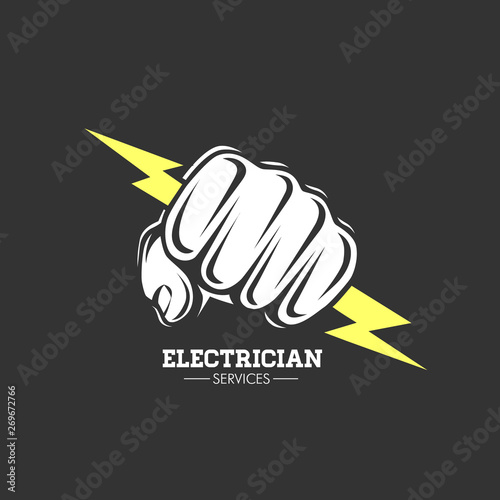 Fototapeta Electrician services Hand holding a lighting Bolt.