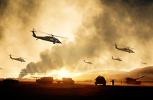 Military Helicopters, Forces And Tanks In Plane In War At Sunset