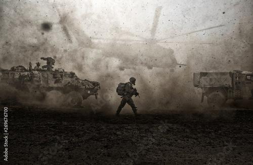 Fotografía  Military forces between storm & dust in desert