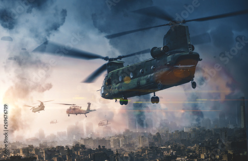 Poster Helicopter Military helicopter and forces in destroyed city and soldiers are in flight with a parachute