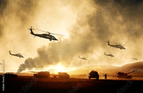 Fototapeta Military helicopters, forces and tanks in plane in war at sunset