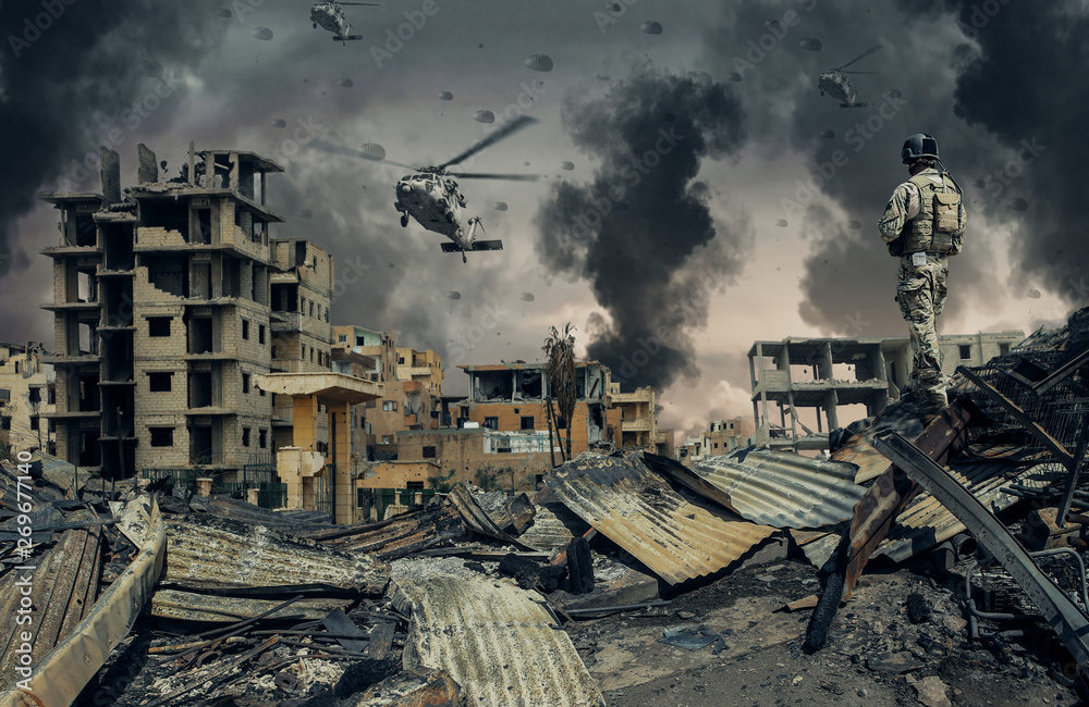 Fototapety, obrazy: Military forces & helicopters at destroyed city