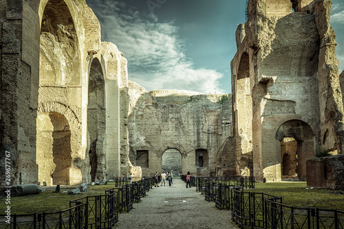 Stampa su Tela Panorama inside the Baths of Caracalla, Rome, Italy