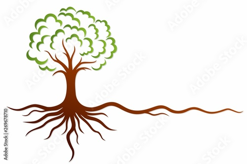 Foto  A symbol of the stylized tree with roots.