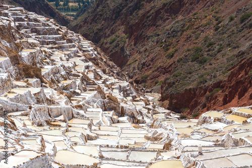 Foto auf Leinwand Texturen Salt Terraces known as 'Salineras de Maras' in Cusco Region, Peru