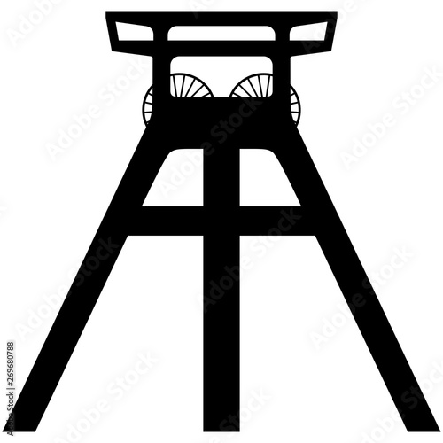Fotografie, Obraz Vector silhouette of a coal mine headframe isolated on white background
