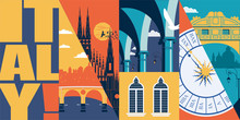 Travel To Italy Vector Skyline Illustration, Postcard. Italian Modern Flat Graphic Banner