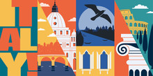 Italy Vector Skyline Illustration, Postcard. Travel To Italy, Rome