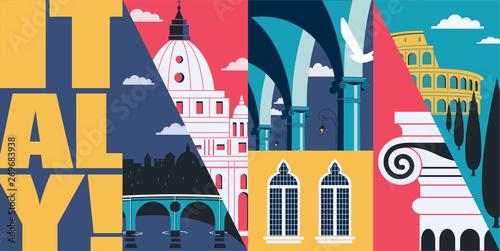 Fototapeta Italy vector skyline illustration, postcard. Travel to Italy, Rome obraz