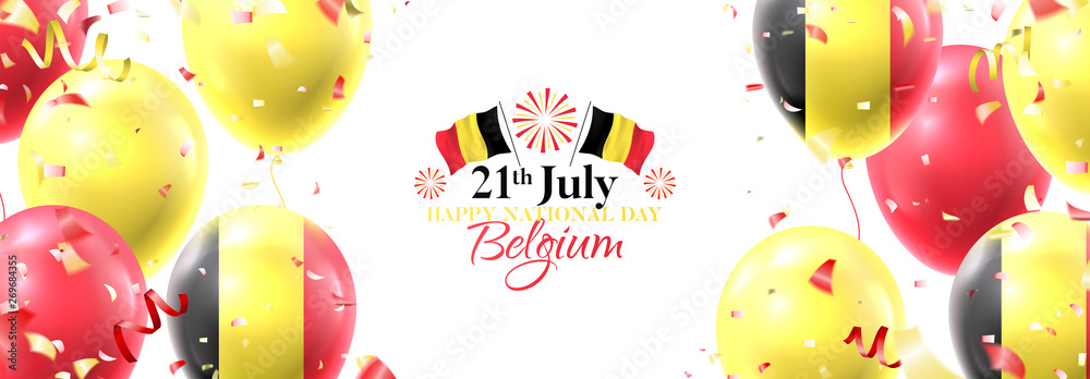 Fototapety, obrazy: Happy national Belgium day festive horizontal banner. Vector illustration with realistic air balloons colored in Belgium flags. Holiday background with color serpentine and confetti.
