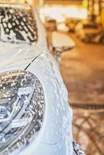 Bubble Wash Foam On Car Surface.