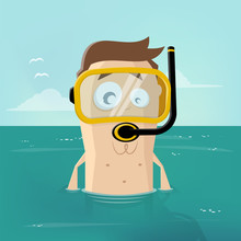 Funny Illustration Of A Snorkeling Cartoon Man