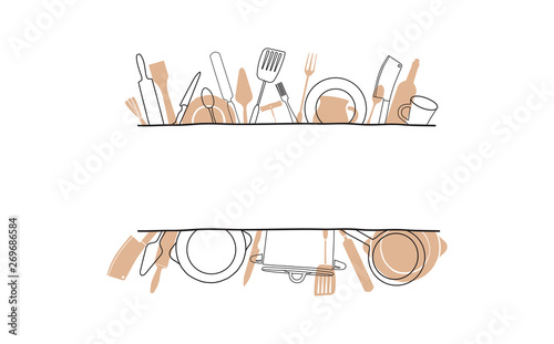 Tablou Canvas Cooking Template Frame with Hand Drawn Utensils and Plase for your Text