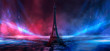 Night scene, wet asphalt and eiffel tower. Night view, neon lights, rays and light lines. Smoke, smog, dark street.