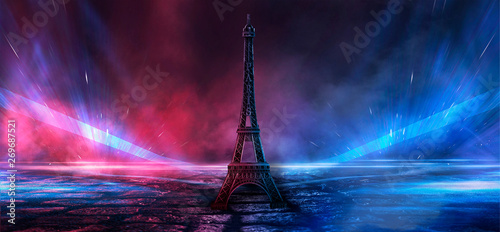 Printed kitchen splashbacks Eiffel Tower Night scene, wet asphalt and eiffel tower. Night view, neon lights, rays and light lines. Smoke, smog, dark street.