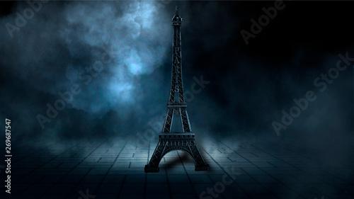 Poster Tour Eiffel Night scene, wet asphalt and eiffel tower. Night view, neon lights, rays and light lines. Smoke, smog, dark street.