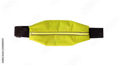 Fotografía  Top view of yellow waist bag or pack with zipper